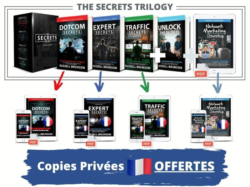 The Secrets Trilogy et les copies privées en français de DotCom Secrets, Expert Secrets, Traffic Secrets et Network Marketing Secrets.